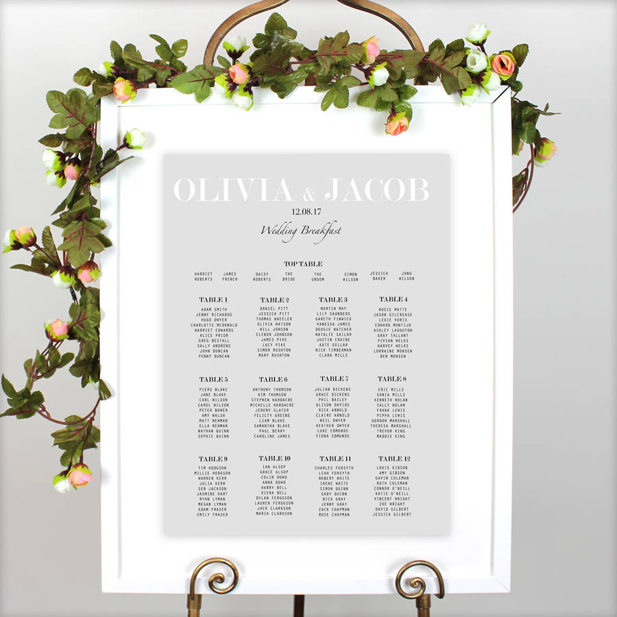 Modern Traditional Wedding Table Plan