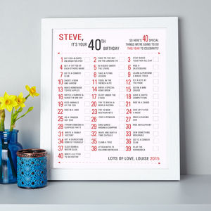 Personalised Birthday Bucket Year List Print