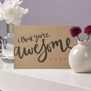 'You're Awesome' Letterpress Card