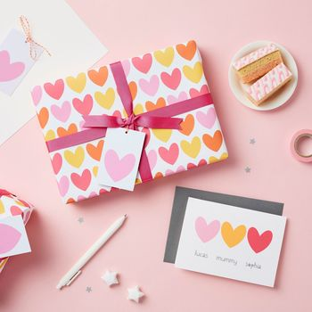 Pink Heart Wrapping Paper Set