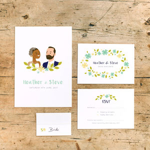 Personalised Portrait Wedding Stationery Collection - place cards
