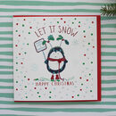 Let It Snow Christmas Greetings Card Penguin Design
