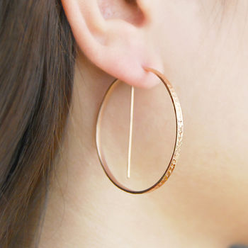 Rose Gold Geometric Round Hoop Earrings