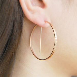 Rose Gold Geometric Round Hoop Earrings - statement earrings