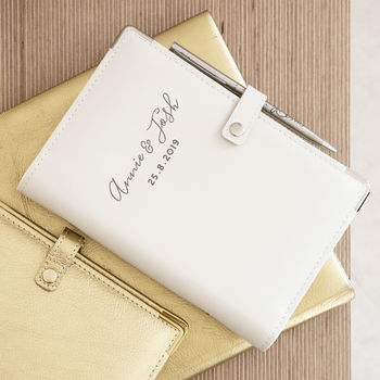 Personalised White Leather Wedding Organiser