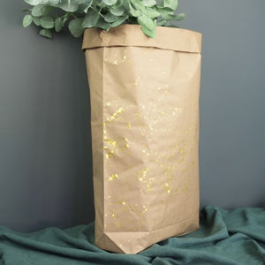 Large Gold Splash Brown Paper Bag, Christmas Sack - home sale