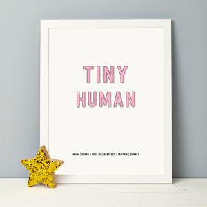Personalised Tiny Human Baby Print