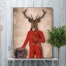 Deer In Red And Gold Jacket, Full, Art Print