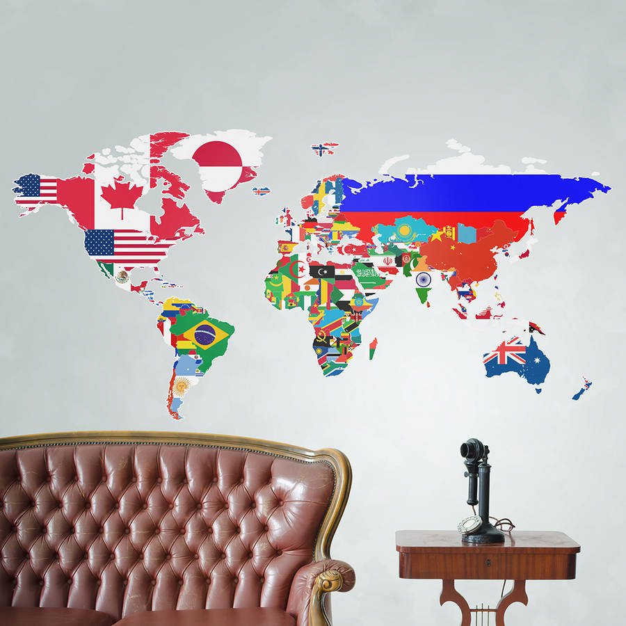 flags of the world map wall sticker by the binary box world map wall decal world map decal vinyl wall by stampmagick