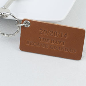 The Day I Became Grandad Personalised Leather Keyring