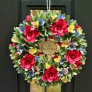 Personalised Spring Blooms Wooden Door Wreath