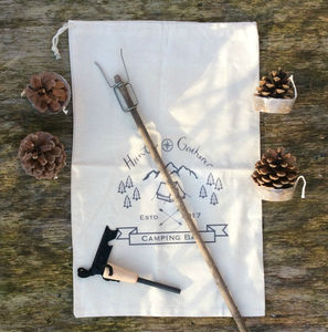 Camping Bag With Firesteel, Firefork And Firelighters - gifts for fathers