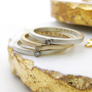 Personalised Yellow And White Gold Stacking Ring - fine jewellery