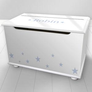 Boys Personlised Toy Box Star Design - toy boxes & chests