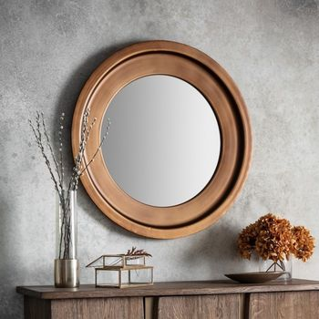 Soft Metal Bronzed Round Mirror