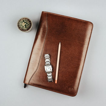 Luxury A4 Leather Conference Folder. 'The Dimaro'