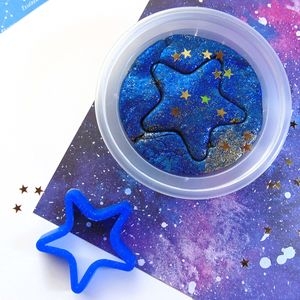 Glittery Super Space Dough With Cutter