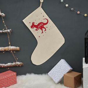 Personalised Christmas T Rex Stocking - christmas sale