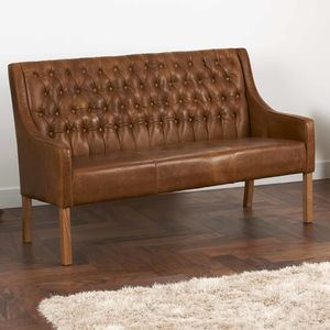 Leather Curved Arm Buttoned Sofa Bench Choice Of Sizes - furniture