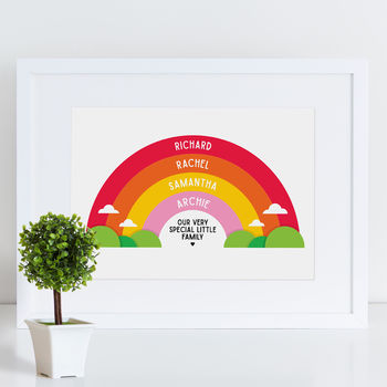 Personalised Family Print Rainbow Design