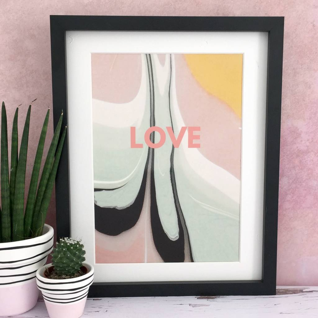 'Love' Marbled Paint Love Print