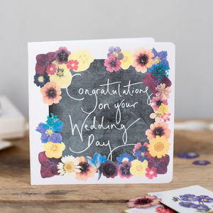 'Congratulations On Your Wedding Day' Floral Print Card - wedding cards