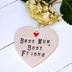 'Best Mum, Best Friend' Hanging Heart Gift