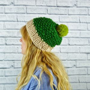 Colour Block Greens Bobble Hat