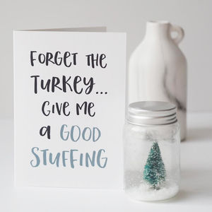Stuff The Turkey Naughty Christmas Card - cards