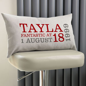 Personalised 18th Birthday Rectangular Cushion