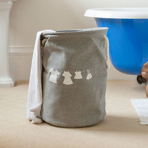 French Grey Washing Line Print Laundry Drawstring Bag - bedroom
