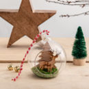 Personalised Cherry Wood Stag Christmas Bauble