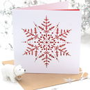 Christmas Snowflake Red Laser Cut Card