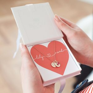 Personalised Couple's Double Heart Necklace - gifts for her