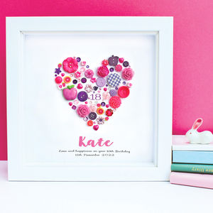 Personalised 18th Birthday Button Heart Framed Art
