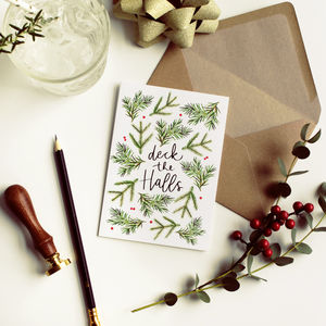 Deck The Halls Scandi Christmas Card - cards