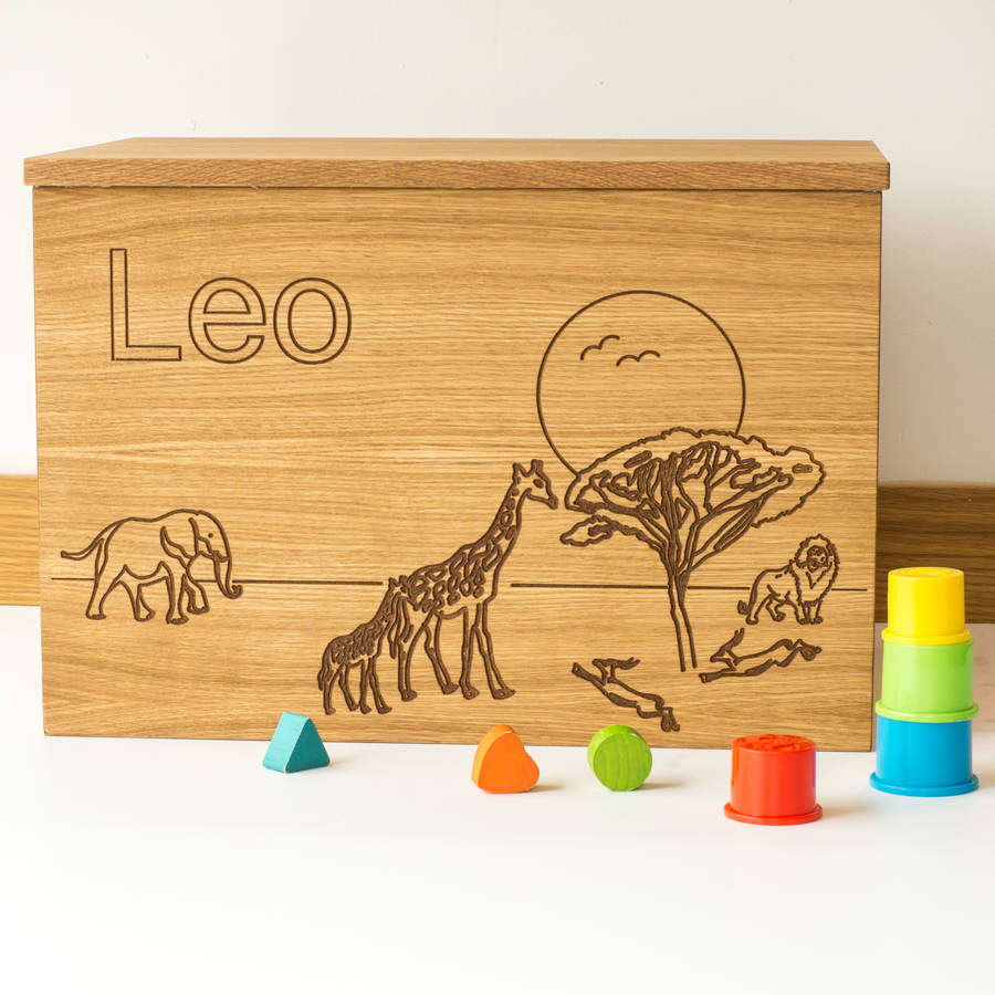 Personalised Safari Wooden Toy Box