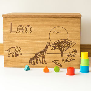 Personalised Safari Wooden Toy Box - gifts for babies
