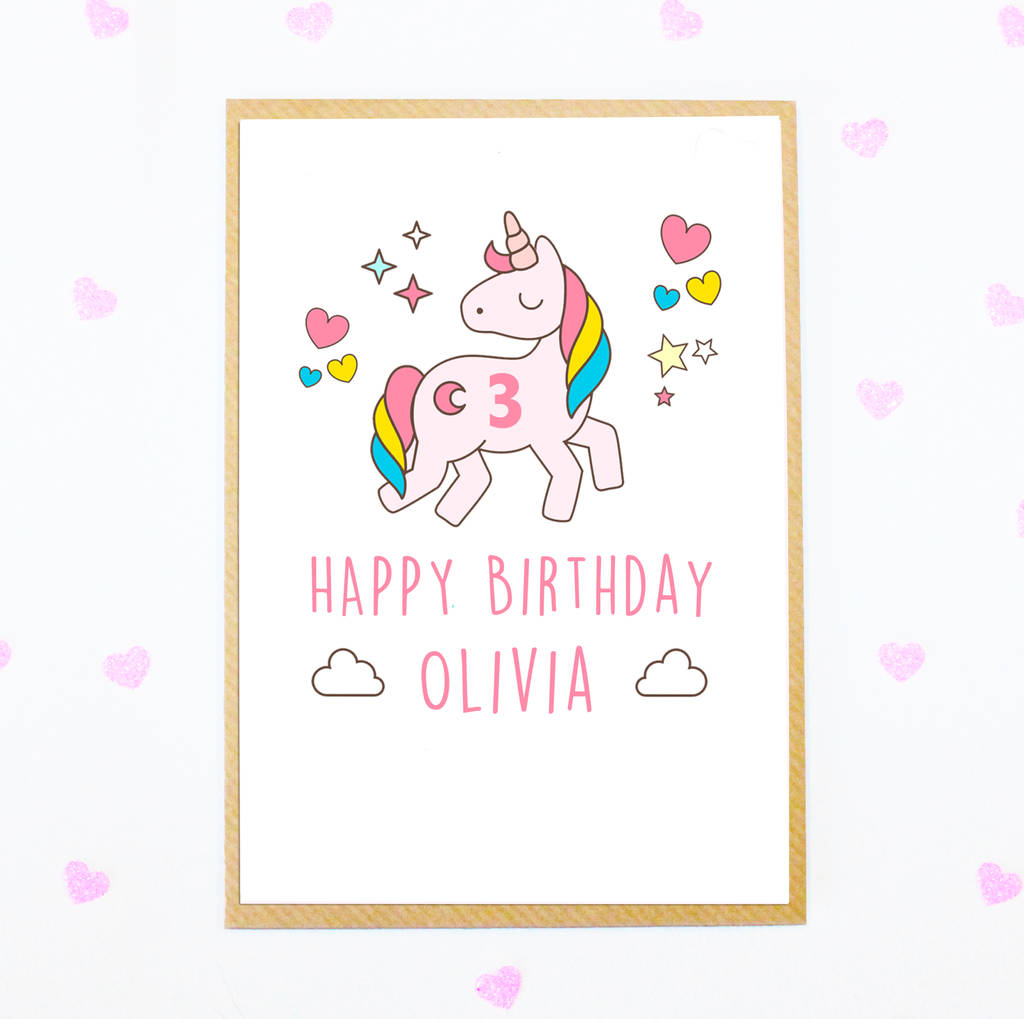 Personalised Unicorn Girls Birthday Card