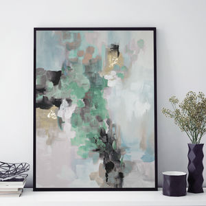 'Rosa Ellie' Framed Giclée Abstract Canvas Print Art