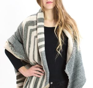 Grey And Beige Fringed Festival Blanket Scarf - women's sale