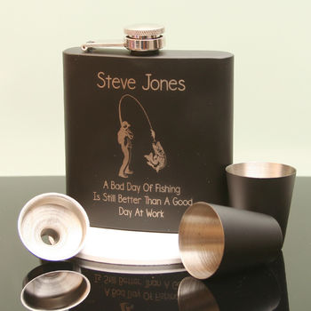 Engraved Black Hip Flask With Fisherman Design