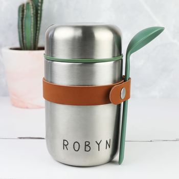 Personalised Stainless Steel Food Flask And Spoon