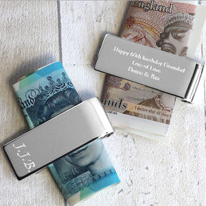 Personalised Silver Money Clip - for grandfathers