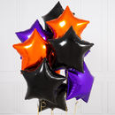 Ten Bewitching Halloween Inflated Star Foil Balloons