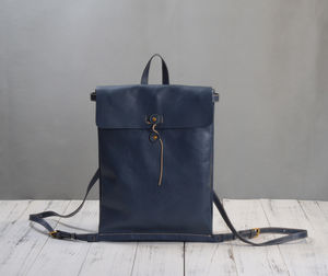 Grain Leather Envelope Style Backpack