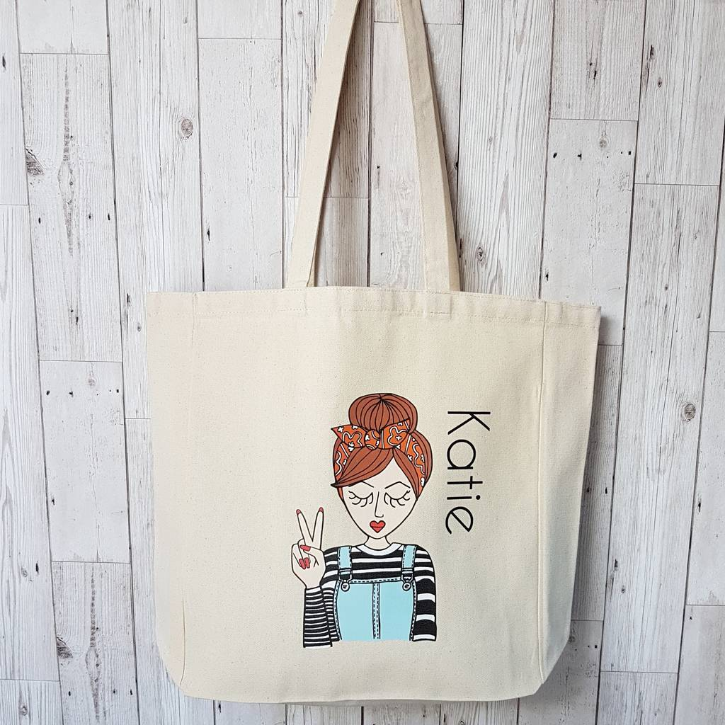 miss 'retro' personalised cotton canvas tote bag by syd&co ...