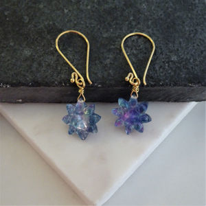 Mother Of Pearl Topaz Lapis Flower Earrings