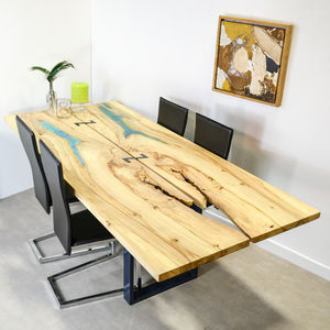Marbled Resin River One Off Dining Or Conference Table - dining room