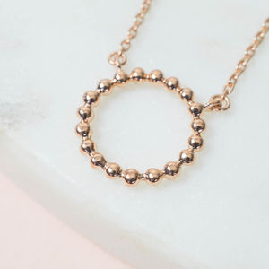 18ct Gold Vermeil Bead Circle Necklace